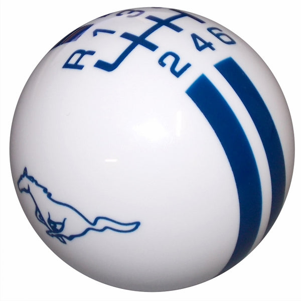 Ford Rally Mustang Pony Logo White/ Blue New 6 Speed Shift Knob