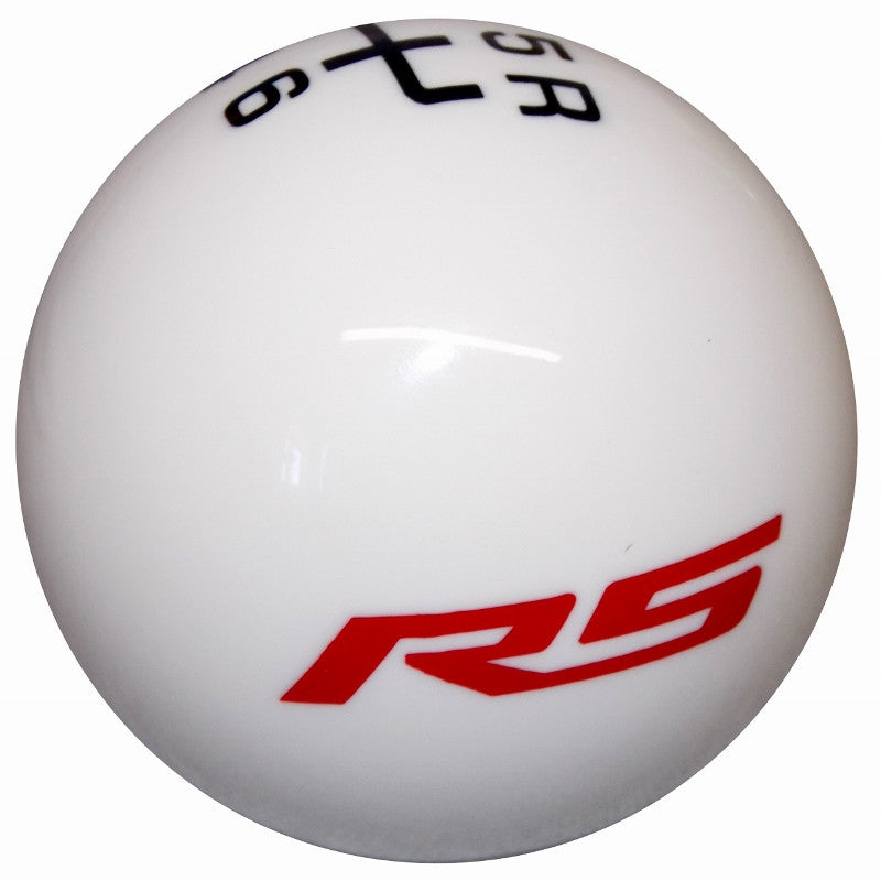 White GM Licensed Red RS Logo 6 Speed Shift Knob