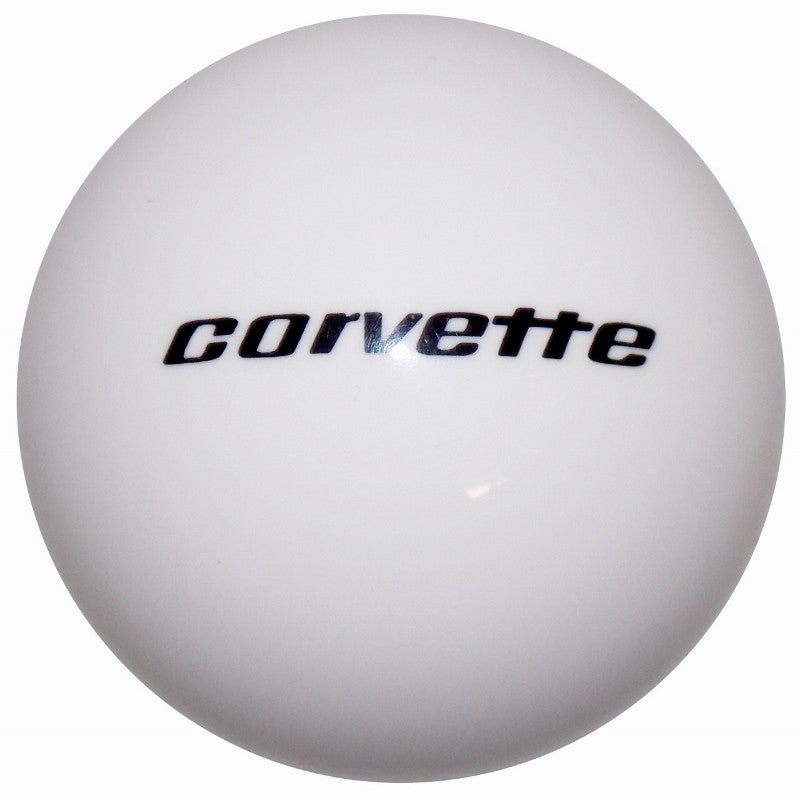 White C3 Corvette Script Logo Shift Knob for the 68-82 Adapter Kit