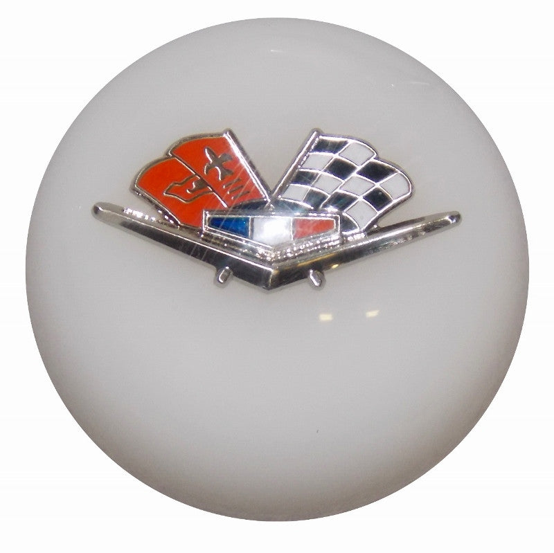 White Chevy Flags Emblem Shift Knob