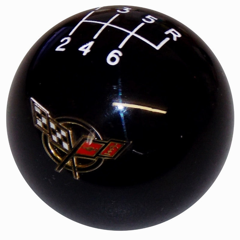 Black C5 Flags Emblem With 6 Speed Pattern Shift Knob