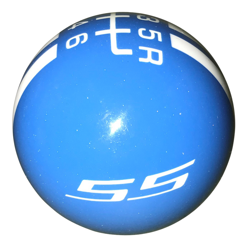 image of Metallic Blue with White Rally Stripe/SS Logo 6 Speed Shift Knob