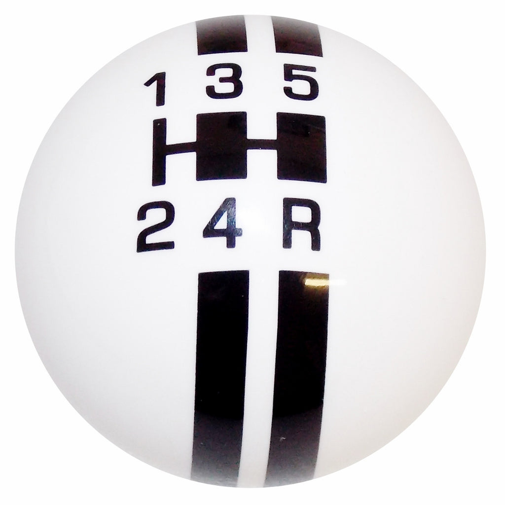 Rally Stripe 5 Speed White With Black Shift Knob
