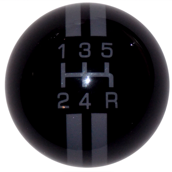 Rally Stripe 5 Speed Black With Pearl Gray Shift Knob- Offset