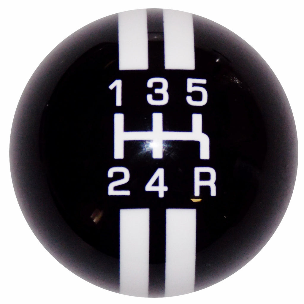 Rally Stripe 5 Speed Black With White Shift Knob