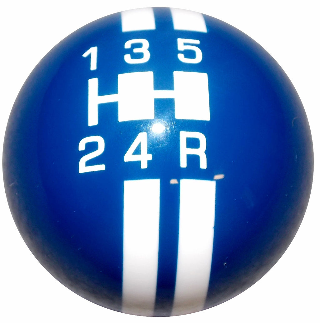 Rally Stripe 5 Speed Blue With White Shift Knob