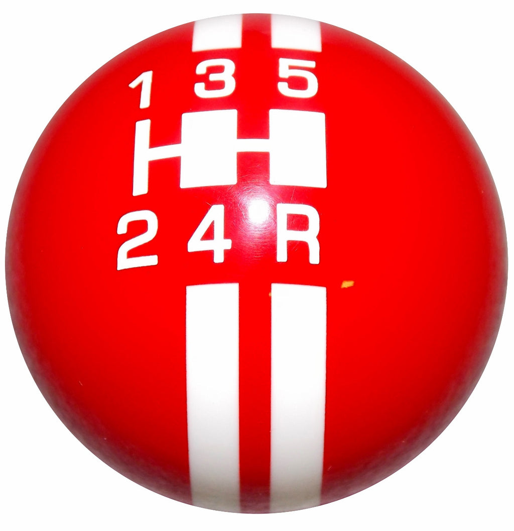 Rally Stripe 5 Speed Red With White Shift Knob