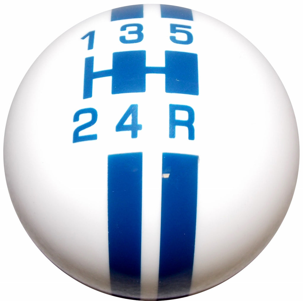 Rally Stripe 5 Speed White with Blue Shift Knob