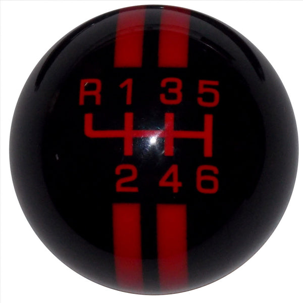 Rally Stripe New 6 Speed Black With Red Shift Knob