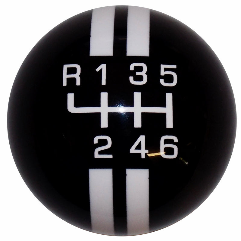 Rally Stripe New 6 Speed Black with White Shift Knob