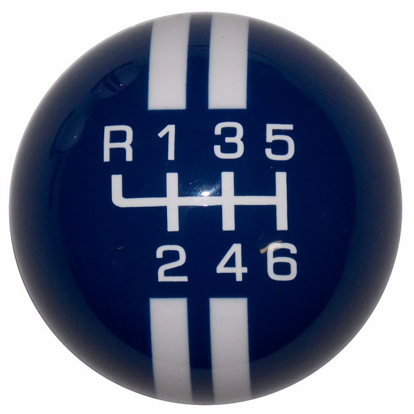 Rally Stripe New 6 Speed Blue With White Shift Knob