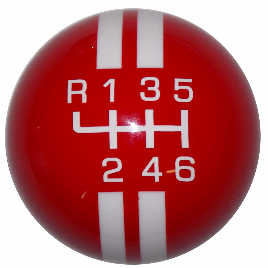 Rally Stripe New 6 Speed Red With White Shift Knob