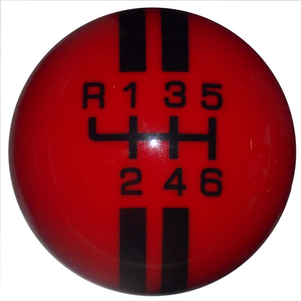 Rally Stripe New 6 Speed Red with Black Shift Knob