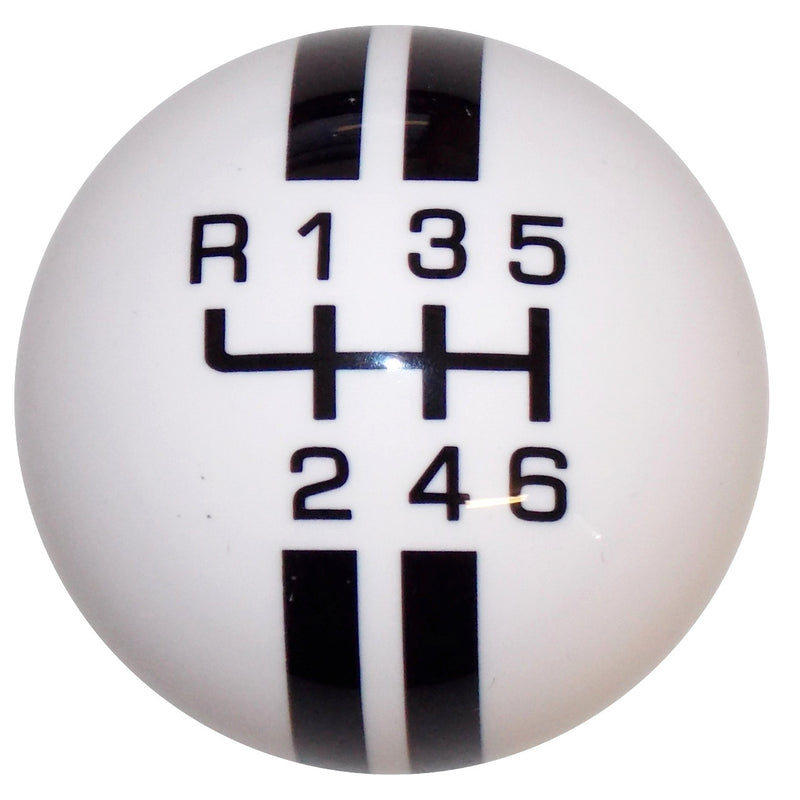Rally Stripe New 6 Speed White with Black Shift Knob