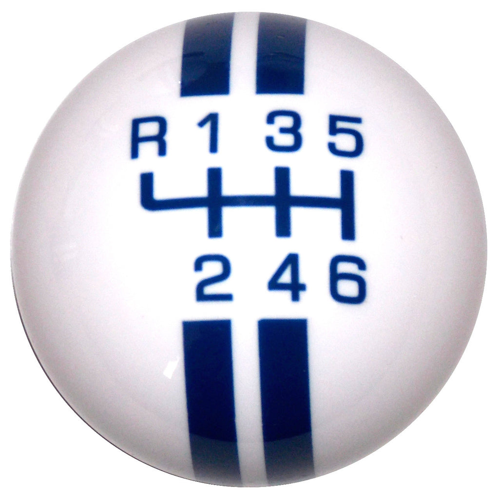 Rally Stripe New 6 Speed White with Blue Shift Knob