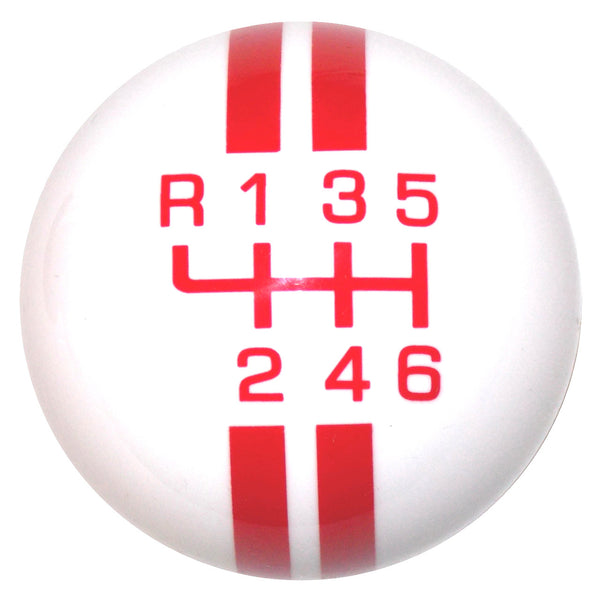 Rally Stripe New 6 Speed White With Red Shift Knob
