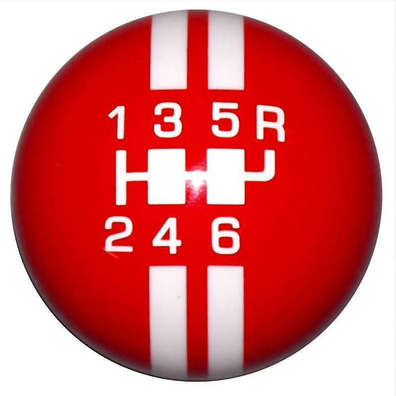 Rally Stripe 6 Speed Red/ White Shift Knob