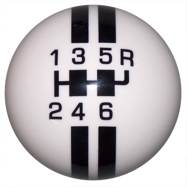 Rally Stripe 6 Speed White/ Black Shift Knob