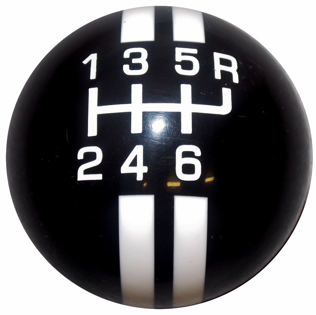Rally Stripe 6 Speed Black With White Shift Knob
