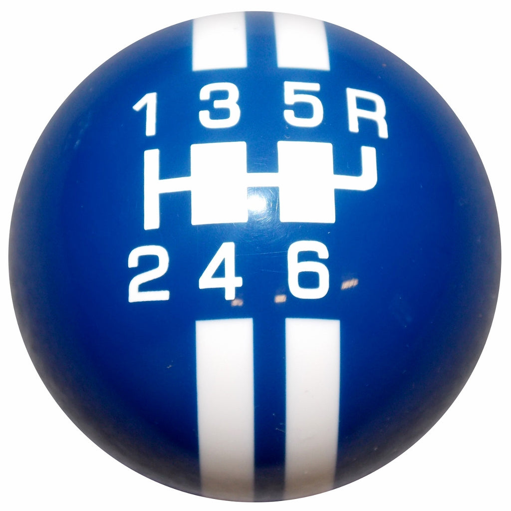 Rally Stripe 6 Speed Blue with White Shift Knob