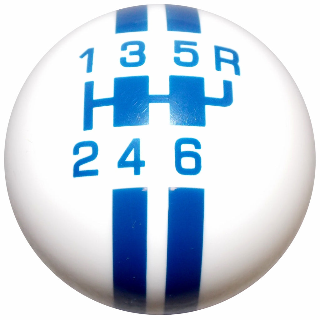 Rally Stripe 6 Speed White With Blue Shift Knob