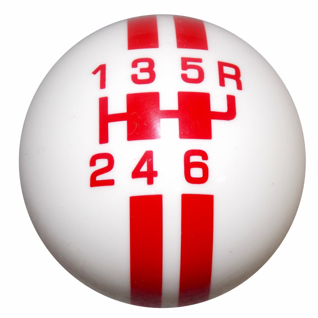Rally Stripe 6 Speed White With Red Shift Knob