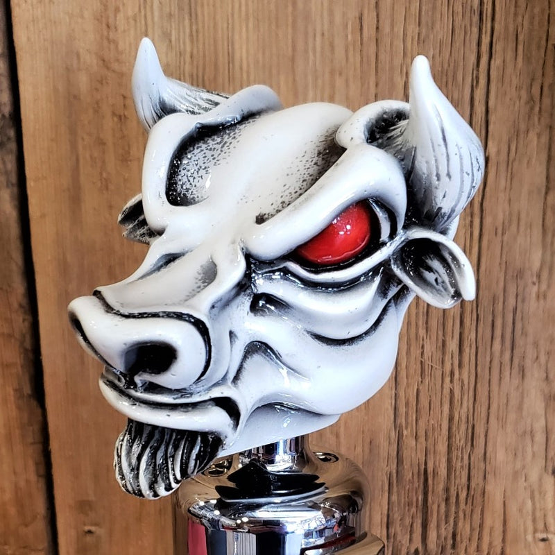 image of twisted shifterz el toro white bull with red eyes shift knob