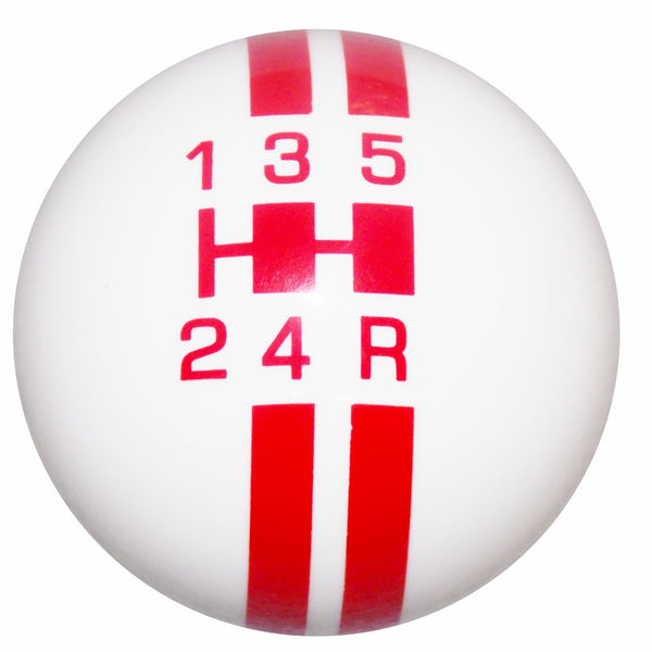 Rally Stripe 5 Speed White With Red Shift Knob
