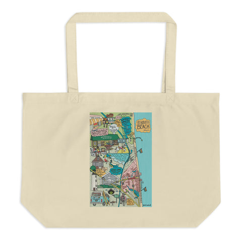 Map of Rehoboth Beach Cotton Large Tote Bag - Jessie husband