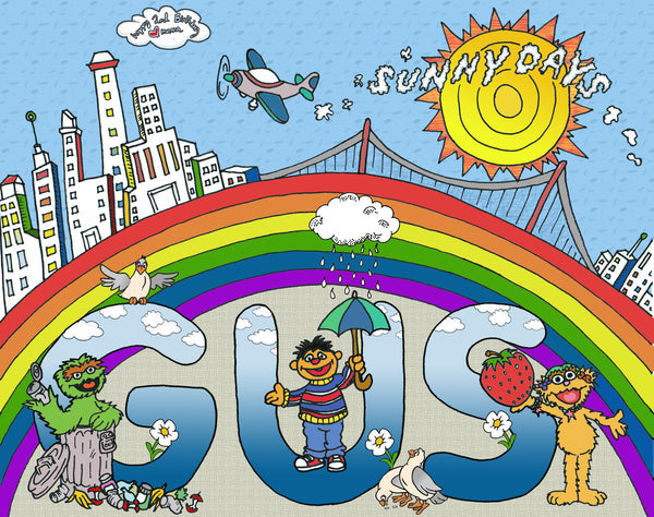 Gus' 2nd Birthday custom & personalized artwork - Birthdays, New borns, Nursery, House warming, Weddings, Anniversaries, Showers, etc... - Jessie husband