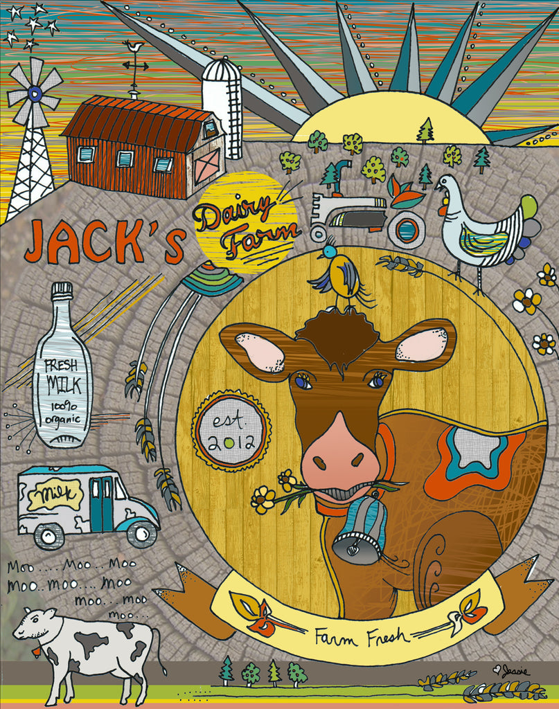 Jack's Dairy Farm custom & personalized artwork - Birthdays, New borns, Nursery, House warming, Weddings, Anniversaries, Showers, etc... - Jessie husband