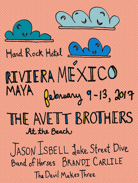 The Avett Brothers At The Beach Poster - 2017 - Jessie husband