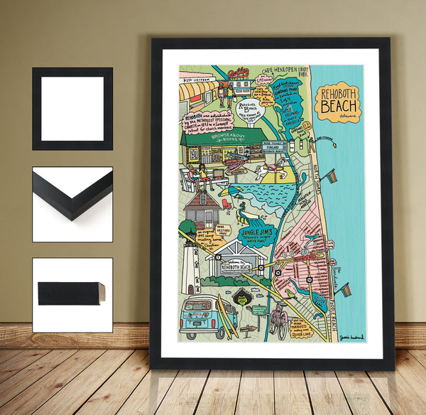 Map of Rehoboth Beach, Delaware (customization and framing options available) - Jessie husband