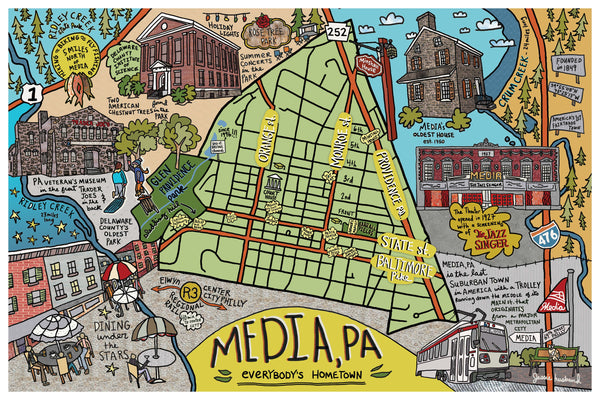 Map of Media, Pennsylvania - Jessie husband