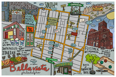 Map of Bella Vista & Italian Market area, Philadelphia - Jessie husband