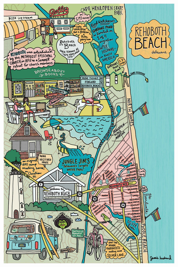Map of Rehoboth Beach, Delaware - Jessie husband