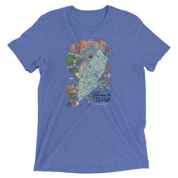 Fishtown neighborhood map Short sleeve t-shirt - Jessie husband