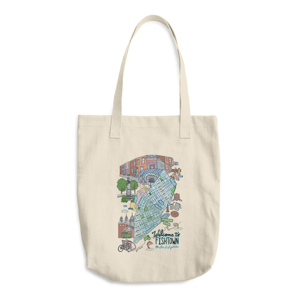 Fishtown neighborhood map Cotton Tote Bag - Jessie husband