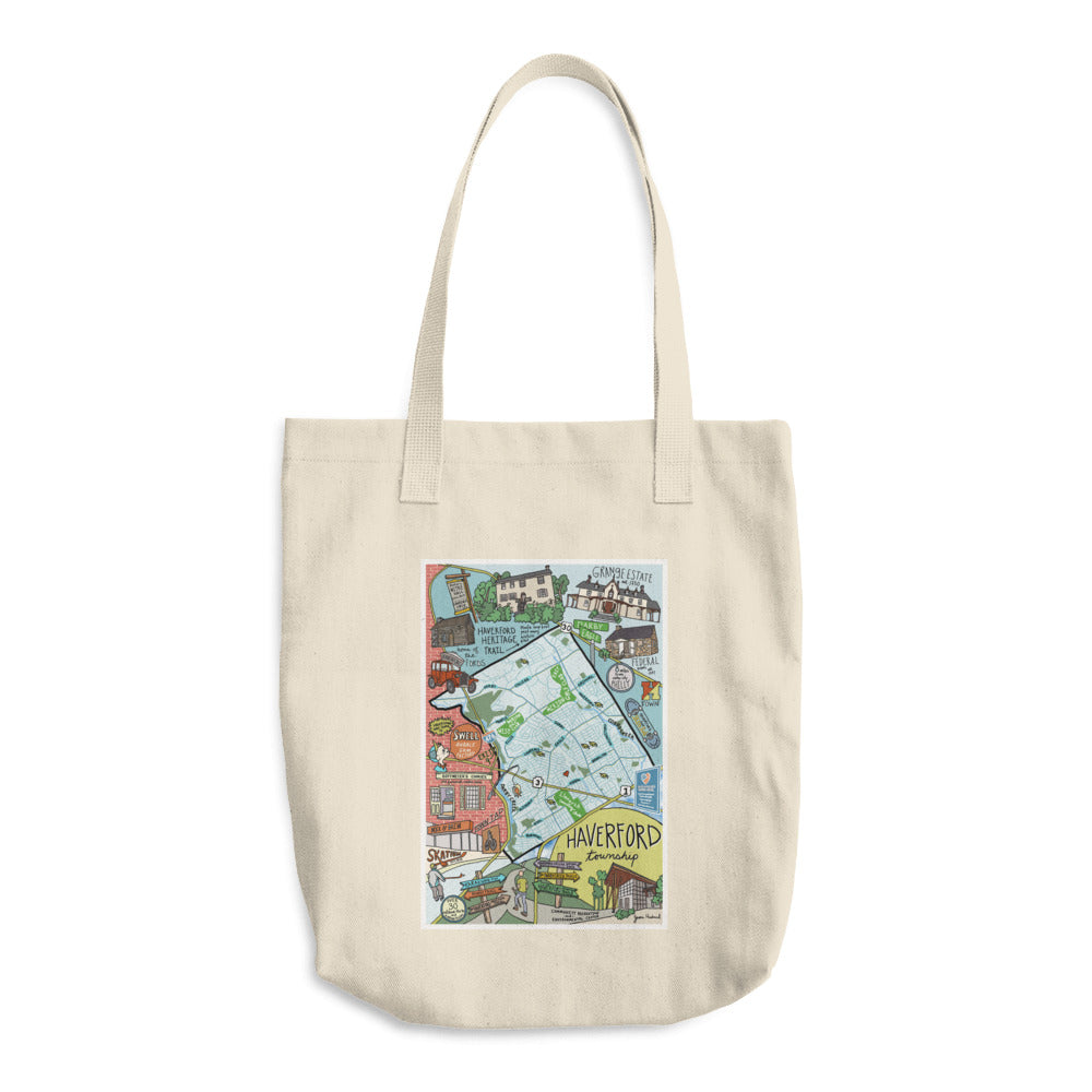 Haverford Township map Cotton Tote Bag - Jessie husband
