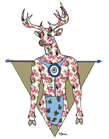 Deer Man w/ a feminine touch, targets and arrows Print - Jessie husband