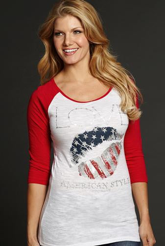 "Cowgirl Up ""American Style"" 3/4 Baseball Tee"