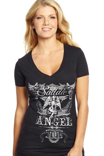 "Cowgirl Up ""Saddle Angel"" V-Neck Tee"