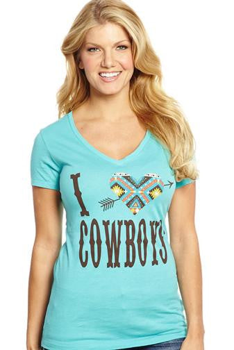 "Cowgirl Up ""I <3 Cowboys"" V-Neck Tee"