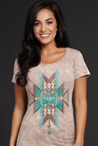 Cowgirl Up Aztec Marble Wash Tee