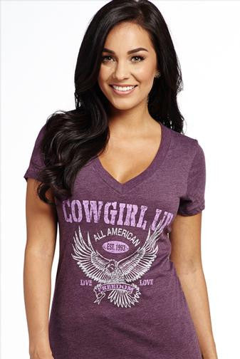 "Cowgirl Up ""All-American"" V-Neck Tee"