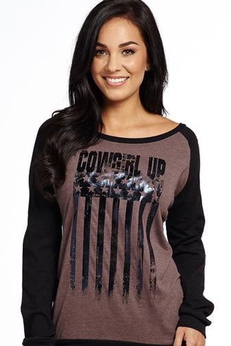 Cowgirl Up Black Foil Flag Tee