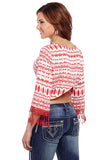 Cowgirl Up Printed 3/4 Sleeve Crossover Back Top w/ Tassel Fringe