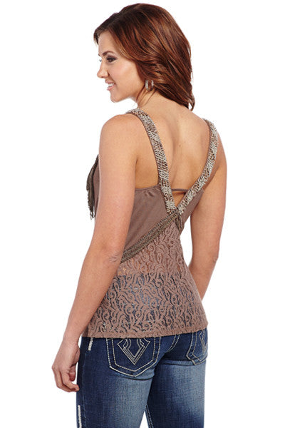 Cowgirl Up Rayon Lace Mix Tank w/ Hand Beaded Straps & Fringe Trim
