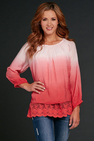 Cowgirl Up 3/4 Sleeve Tunic Length Poet Blouse