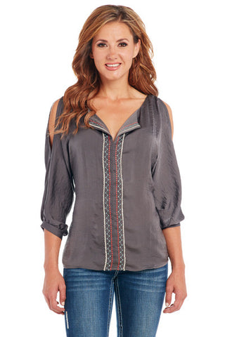 Cowgirl Up 3/4 Sleeve Blouse w/ Cut-Out Shoulder & Embroidery